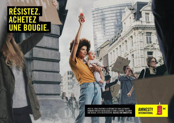 Affiche campagne bougies Amnesty International 2019